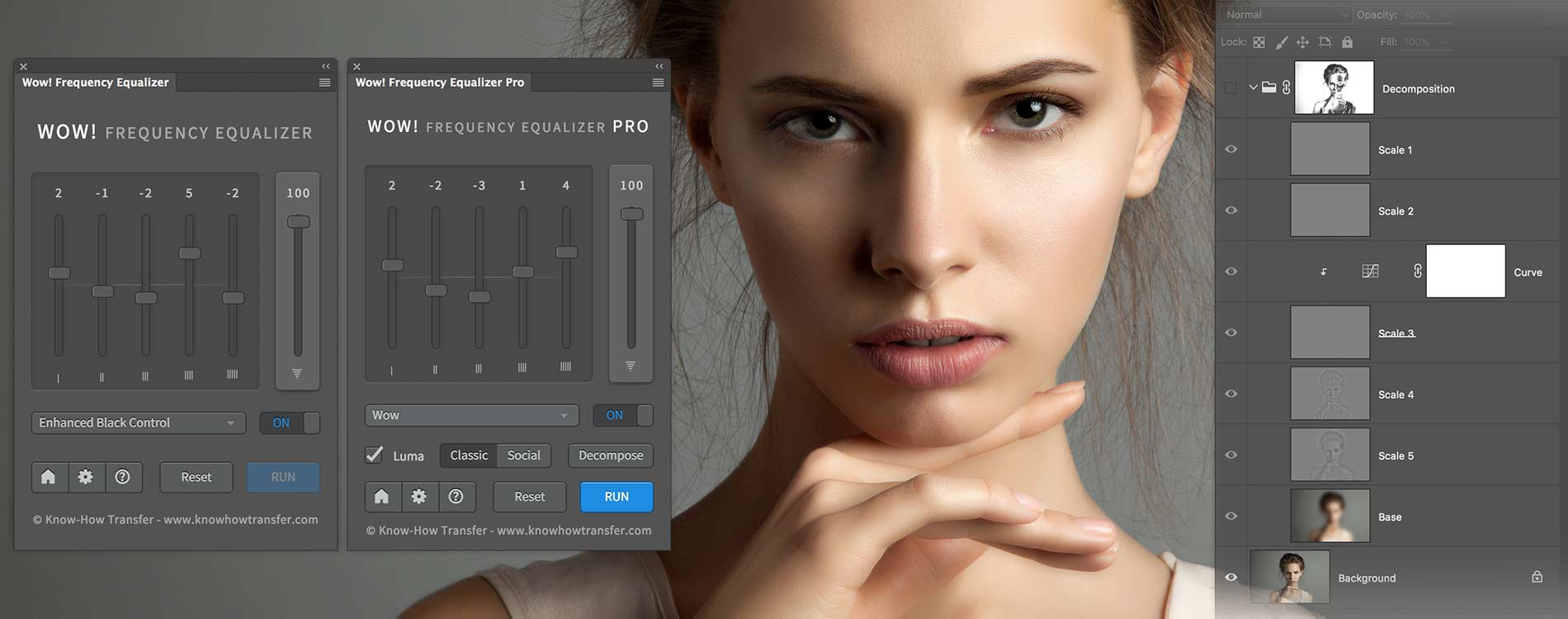 Wow Frequency Equalizer Classic and Pro Edition panel and decompose window and a woman portaitBeauty Shot Tuned by Wow Frequency Equalizer