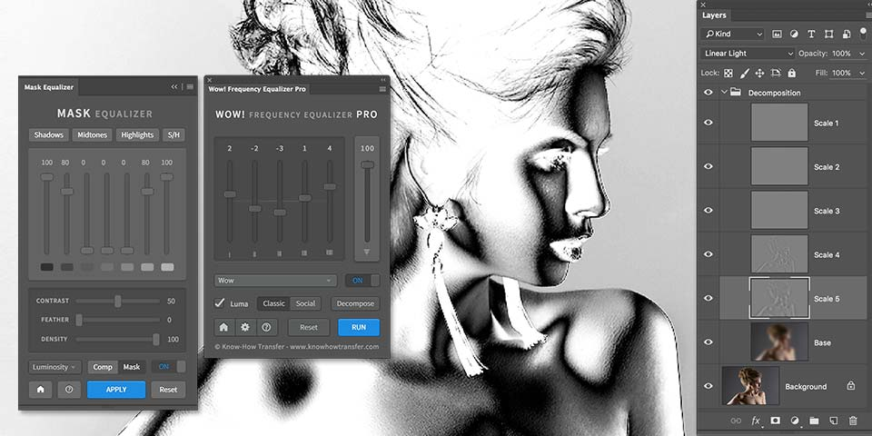 Mask Equalizer and Wow! Frequency Equalizer plugins for Photoshop panels plus a sample of layer mask created by Mask Equalizer