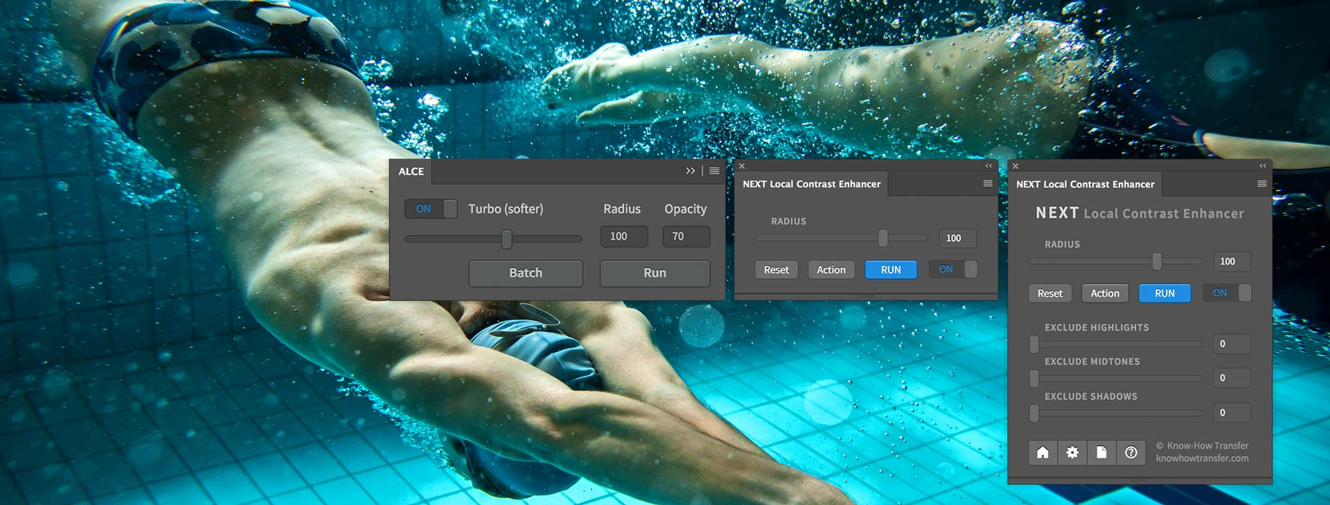 ALCE panel and NEXT panel in compact and extended mode with an image of divers tuned by NEXT